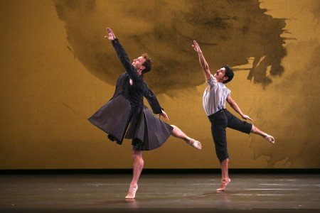 "Aaron Loux and Domingo Estrada, Jr. of the Mark Morris Dance Group in ""Double"" from Mark Morris's ""Mozart Dances"" Photo Richard Termine"