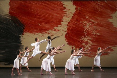 "Dancers of the Mark Morris Dance Group in ""Twenty-seven"" from Mark Morris's ""Mozart Dances"" Photograph Richard Termine."