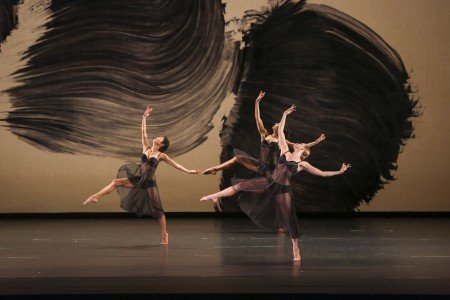 "Maile Okamura, Stacy Martorana, and Lesley Garrison of the Mark Morris Dance Group in ""Eleven"" from Mark Morris's ""Mozart Dances"" Photograph Richard Termine"