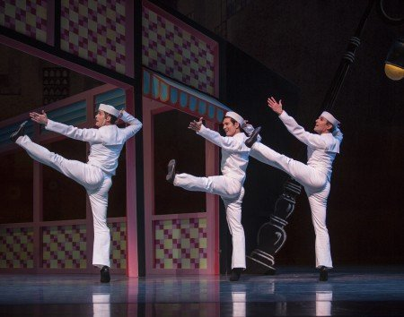 "Pacific Northwest Ballet dancers (l-r) Seth Orza, James Moore and Jonathan Porretta in Jerome Robbins' ""Fancy Free"" Photo Angela Sterling"
