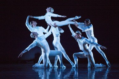 "Sarasota Ballet's Victoria Hulland and company members  in Sir Frederick Ashton's ""Sinfonietta 