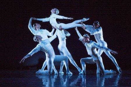 "Sarasota Ballet's Victoria Hulland and company members in Sir Frederick Ashton's ""Sinfonietta | 2nd Movement"" Photo Yi-Chun Wu"