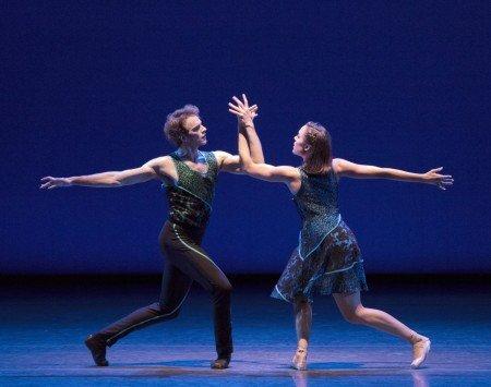 "New York City Ballet dancers Russell Janzen and Emily Kikta in Peter Walker's ""ten in seven"" Photo Paul Kolnik"