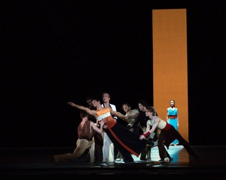 "Marcelo Gomes, Blaine Hoven, Daniil Simkin (l-r, foreground),   Devon Teuscher (rear),  and members of American Ballet Theatre  in Alexei Ratmansky's ""Serenade after Plato's Symposium"" Photo Rosalie O'Connor"