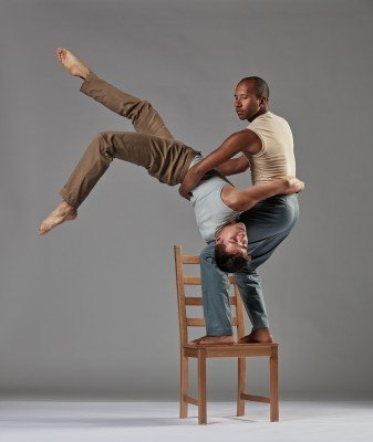 "Joseph Blake and Fausto Rivera of Chamber Dance Company in Zvi Gotheiner's ""Chairs"". Photo Steve Korn."
