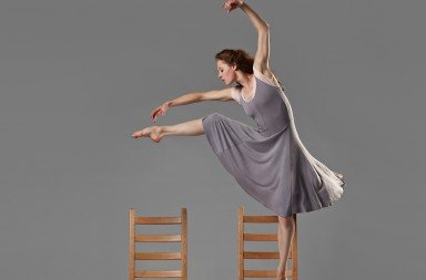 "Laura Halm of Chamber Dance Company  in Zvi Gotheiner's ""Chairs""       Photo Steve Korn"