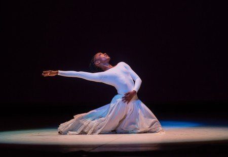 """Demetia Hopkins-Greene of Alvin Ailey American Dance Theater in """"Cry"""", choreographed by Alvin Ailey Photo Stephanie Berger"""