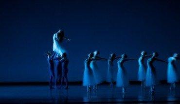"Eva Burton and Oregon Ballet Theatre dancers in George Balanchine's ""Serenade"" Photo James McGrew"