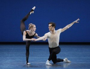 "Sterling Hyltin, here with Robert Fairchild in George Balanchine's ""Stravinsky Violin Concerto"" Photo Paul Kolnik"
