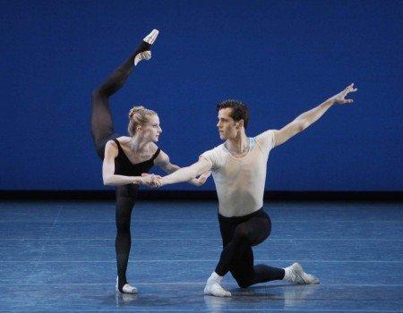 "New York City Ballet dancers Sterling Hyltin and Robert Fairchild in George Balanchine's ""Stravinsky Violin Concerto"" Photo Paul Kolnik"