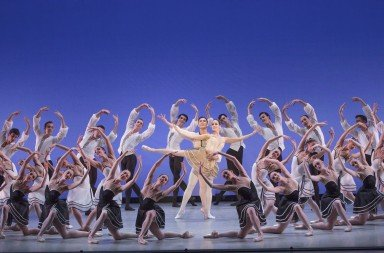The Suzanne Farrell Ballet in Gounod Symphony, choreography by George Balanchine.  Photo by Paul Kolnik