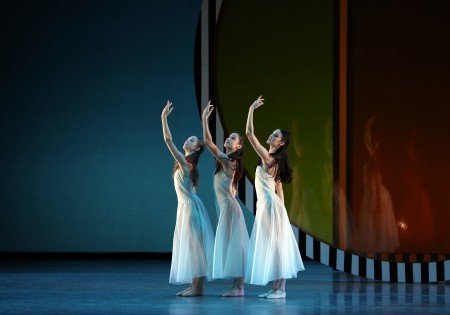 "American Ballet Theatre dancers Rachel Richardson, Betsy McBride and Brittany DeGrofft in Benjamin Millepied's ""Daphnis and Chloe"" Photo Marty Sohl."