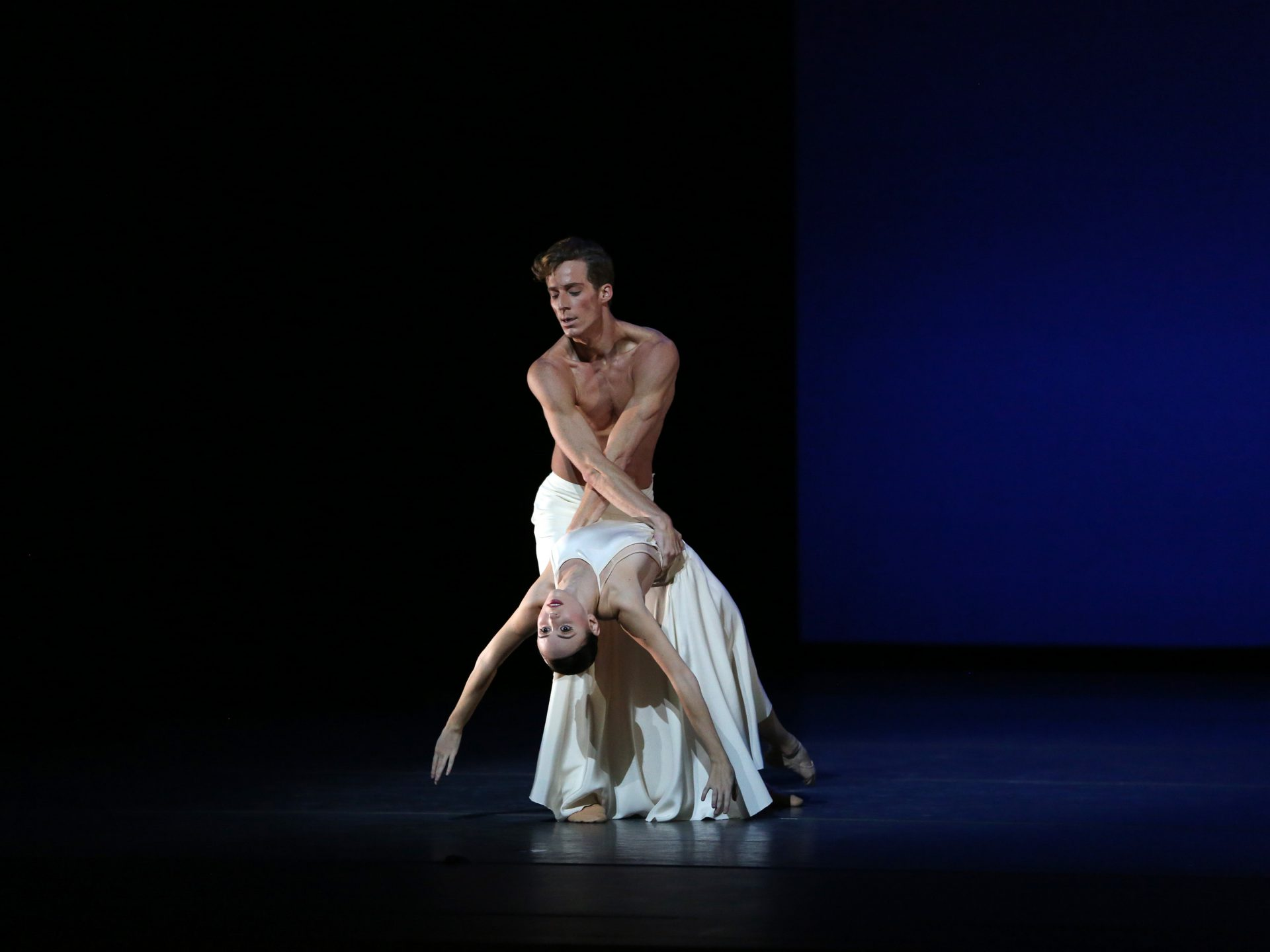 "American Ballet Theatre dancers Skylar Brandt and Blaine Hoven in Benjamin Millepied's ""Daphnis and Chloe"" Photo Marty Sohl."