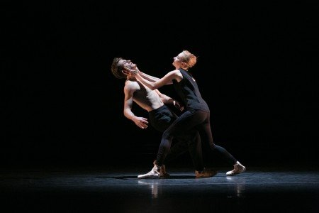 """BalletCollective dancers Harrison Coll and Ashley Laracey in Troy Schumacher's """"Invisible Divide"""" Photo Whitney Browne"""