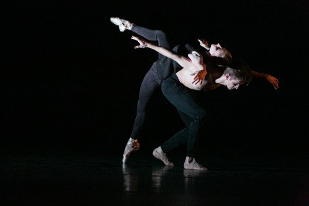 """BalletCollective dancers Ashley Laracey and Harrison Coll in Troy Schumacher's """"Invisible Divide"""" Photo Whitney Browne"""