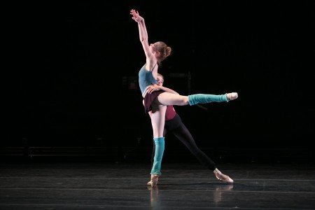 """BalletCollective dancers Lauren King and Ashley Laracey in Troy Schumacher's """"Until the Walls Cave In"""" Photo Whitney Browne"""
