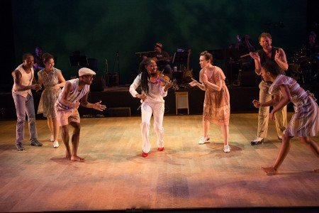 "Byron Tittle, Juliette Jones (violin), Elizabeth Burke, Karida Griffith (foreground) and Dorrance Dance dancers in ""The Blues Project"" by Michelle Dorrance Photo Christopher Duggan"
