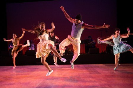"""Dormeshia Sumbry-Edwards and Derick K. Grant (foreground) and Dorrance Dance dancers in """"The Blues Project"""" by Michelle Dorrance Photo Christopher Duggan"""