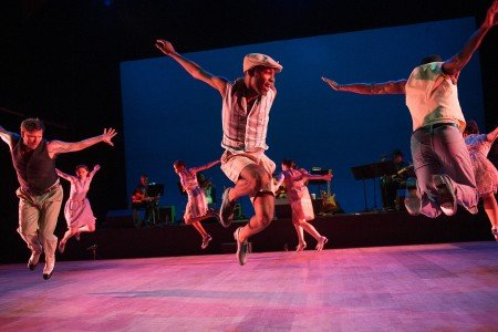 """Nicholas Van Young and Byron Tittle (foreground) and Dorrance Dance dancers in """"The Blues Project"""" by Michelle Dorrance Photo Christopher Duggan"""