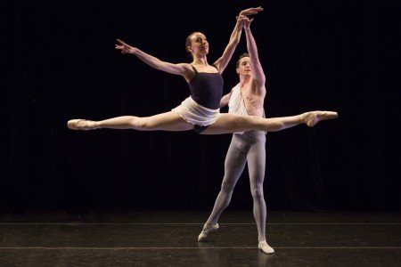 "Neville Dance Theatre dancers  Dona Wiley and Hunter Mikles  in Billy Blanken's ""Brahms' Double Concerto"" Photo Yi-Chun Wu"