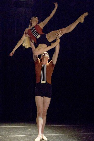 "Neville Dance Theatre dancers Tanya Lynn Trombly and Hunter Mikles in Brenda R. Neville's ""Blessed"""
