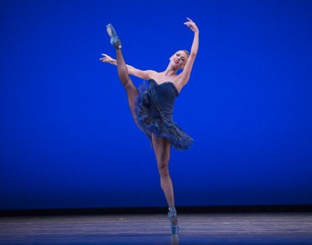 "Pacific Northwest Ballet dancer Lesley Rausch in Twyla Tharp's ""Brief Fling"" Photo Angela Sterling."