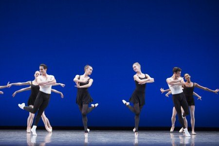"Pacific Northwest Ballet dancers (l-r-) Seth Orza, Noelani Pantastico, Lesley Rausch, and Jerome Tisserand with company dancers in George Balanchine's ""Stravinsky Violin Concerto"" Photo Angela Sterling"