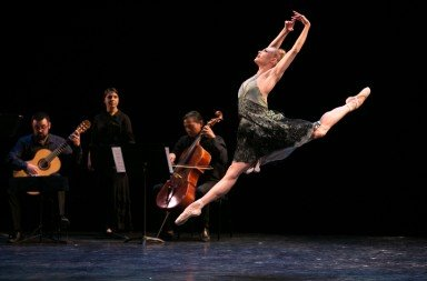 "Sara Mearns and musicians  in Alexei Ratmansky's ""Fandango""  at Vail ReMix NYC Festival        Photo Erin Baiano"