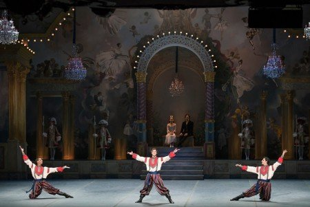 Boston Ballet dancers (l-r) Lawrence Rines, Isaac Akiba and Mamuka Kikalishvili in Mikko Nissinen's The Nutcracker Photo Liza Voll