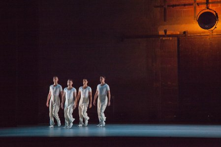 """The Lucinda Childs Dance Company's Lonnie Poupard Jr., Vincent McCloskey, Matt Pardo and Patrick John O'Neill in """"Radial-Courses"""" Photo by John Sisley"""