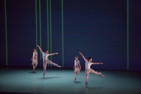 "The Lucinda Childs Dance Company's Caitlin Scranton, Patrick John O'Neill, Sharon Milanese and Matt Pardo in ""Canto-Ostinato"" Photo by John Sisley"