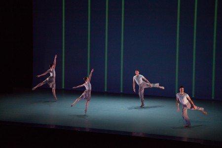 "The Lucinda Childs Dance Company's Caitlin Scranton, Sharon Milanese, Patrick John O'Neill and Matt Pardo in ""Canto Ostinato"" Photo by John Sisley"
