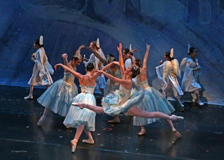 "Lily Saito (foreground) and American Repertory Ballet dancers in ""The Nutcracker"" Photo Leighton Chen"