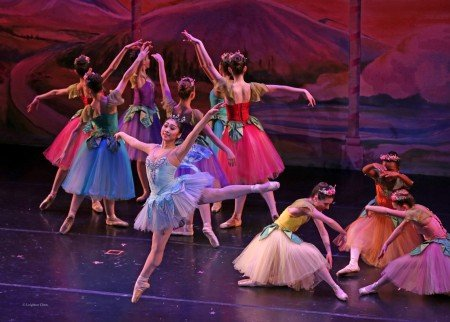 "Mizuki Sato (foreground) and American Repertory Ballet dancers in ""The Nutcracker"" Photo by Leighton Chen"