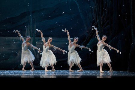 "Oregon Ballet Theatre dancers (l-r) Erin Norris, Aubrey Kazami, Emily Parker, and Jessica Lind in ""George Balanchine's 'The Nutcracker'"" Photo by James McGrew"