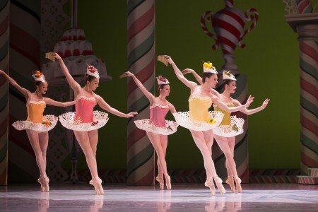 "Pacific Northwest Ballet dancer Rachel Foster (second from right) and PNB dancers in ""George Balanchine's The Nutcracker'"" Photo Angela Sterling"