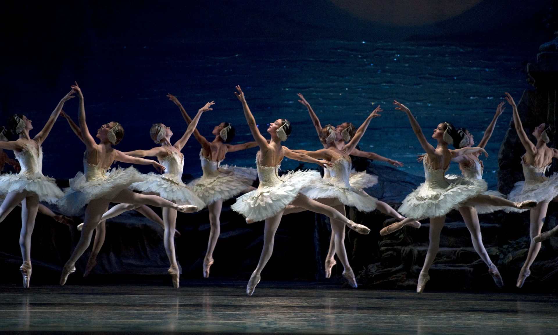 "American Ballet Theatre dancers in a prior performance of ""Swan Lake"" Photo by Gene Schiavone"