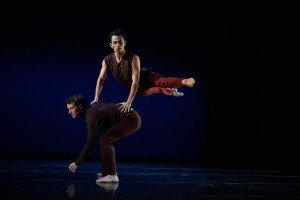 "Diablo Ballet dancers Felipe Leon and Oliver-Paul Adams in Sonya Delwaide's ""Trait d'Union"" Photo by David DeSilva"