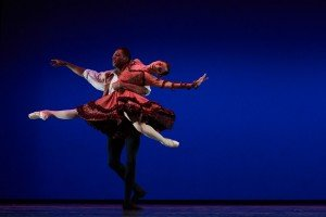 "Diablo Ballet dancers Jamar Goodman and Rosselyn Ramirez in the Pas de Deux from ""Don Quixote"" Photo by David DeSilva"