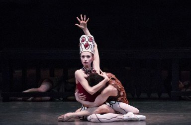 "Miriam Miller and Anthony Huxley  of New York City Ballet in  George Balanchine's ""Prodigal Son""     Photo by Paul Kolnik"