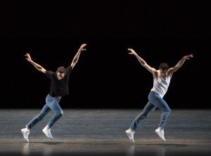 "Justin Peck and Robert Fairchild of New York City Ballet in Justin Peck's ""The Times Are Racing"" Photo by Paul Kolnik"