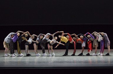 "Members of New York City Ballet  in Justin Peck's ""The Times Are Racing""       Photo by Paul Kolnik"