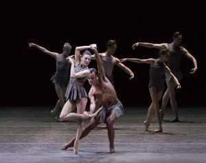"Tiler Peck, Taylor Stanley and  members of New York City Ballet in Pontus Lidberg's ""The Shimmering Asphalt"" Photo by Paul Kolnik"