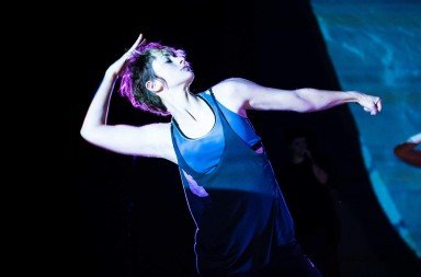"Claire Mitchell in  Ashleigh Miller's ""Brain Is A Radio"" in the Emerging Choreographers Program: ""Dust""     Photo by Jazzy Photo"