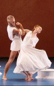"Heather McGinley and Michael Trusnovec of Paul Taylor Dance Company in ""Ab Ovo Usque Ad Mala (From Soup to Nuts)"" Photo by Paul B. Goode"