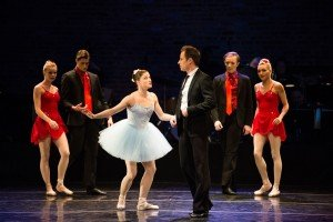 "Ashley Bouder, Andrew Veyette (center), and (l-r) Olivia MacKinnon, Aaron Sanz, Andrew Harper and Jordan Miller in Susan Stroman's ""Blossom Got Kissed"" Photo by Diana Mino"