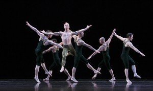 "Michael Trusnovek (foreground) and members of The Paul Taylor Dance Company in ""Brandenburgs"" Photo by Paul B. Goode"