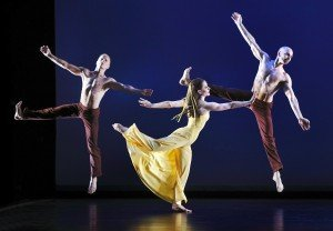 "Paul Taylor Dance Company members (l-r) Michael Trusnovec, Eran Bugge and George Smallwood in Martha Graham's ""Diversion of Angels"" Photo by Paul B. Goode"