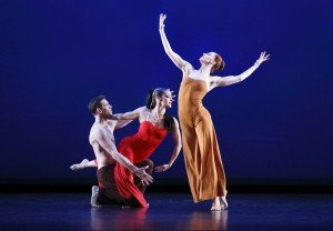 "Paul Taylor Dance Company members (l-r) Sean Mahoney, Parisa Khobdeh, and Heather McGinley in Martha Graham's ""Diversion of Angels"" Photo by Paul B. Goode"