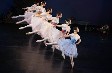 "Nerea Barrondo (foreground)  and members of Gelsey Kirkland Ballet  in Arthur Saint-Leon's ""La Vivendiere""    Photo by Ani Collier"